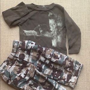 EUC Bear camo t shirt and lined pants